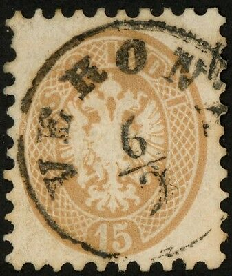 1864-65 Austria Lombardy-Venetia Stamp Sct #24, 15s yellow brown Used VF, HR