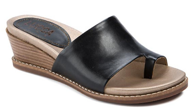 e1b757a23a1424  79 sz 8.5 Lucca Lane Wynona Black Leather Thong Wedge Slide Sandals Women  Shoe