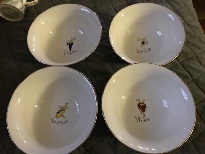 Pottery Barn Reindeer Bowls: Set Of Four, Comet, Cupid, Donner, And Blitzen
