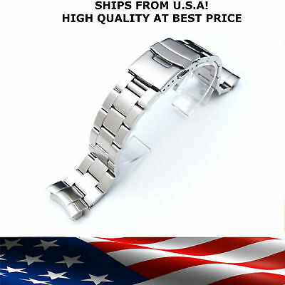 Fits Seiko Bracelet 20mm or 22mm Curved Stainless Diver Lock Clasp Band