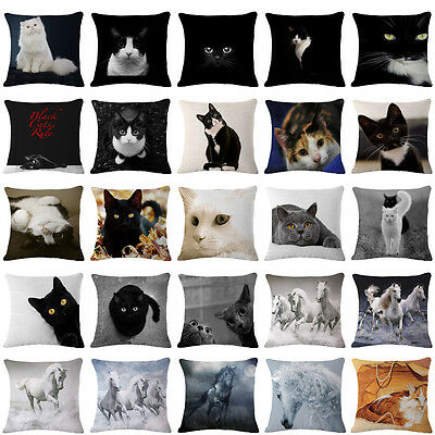 Cat Horse Linen Home Decor Throw Pillow Case Cushion Cover Pillowcase