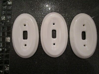 VINTAGE Lot Of 3 White Porcelain Single Toggle Light Switch Plate Covers