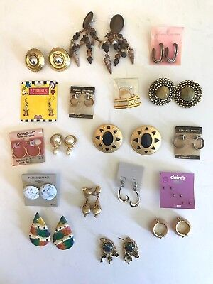 Lot of Vintage Earrings Pierced & Clip On Hoops Surgical Steel Save Planet 20