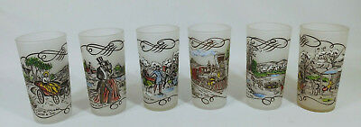 6 Currier & Ives Various Scenes Frosted Drinking Glasses, 2 Sets Avail. $35 Each
