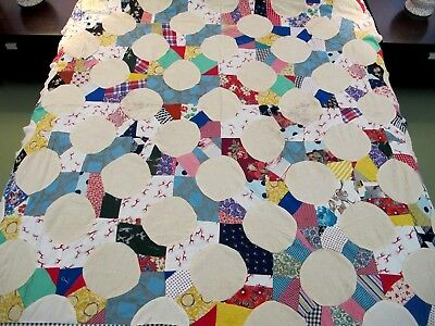 Vintage Feed Sack Novelty Prints & Other Cottons Machine Set SNOWBALL Quilt TOP