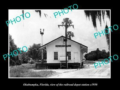 OLD LARGE HISTORIC PHOTO OF OKAHUMPKA FLORIDA, THE RAILROAD DEPOT STATION c1950