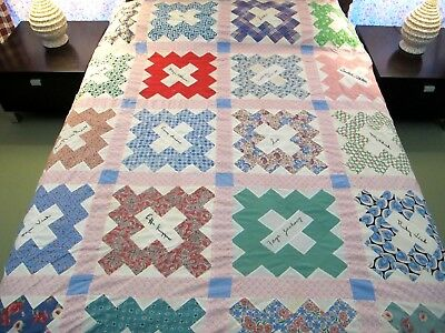"Vintage Signed Dated 1952 Feed Sack Cotton FRIENDSHIP Quilt TOP 90"" x 71""; Good!"