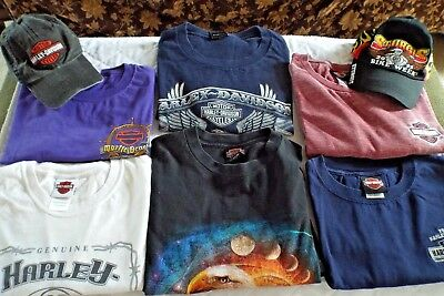 Lot 6 Genuine Mens Harley Davidson Shirts with 2 Hats Size L Large