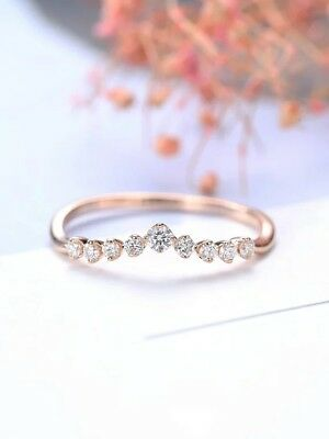 18K Rose Gold Plated White Topaz Jewelry Women Wedding Gift Ring Size 5-10