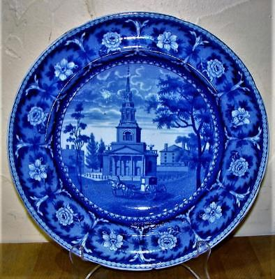 "Antique Historical Staffordshire Blue Transfer Bowl, ""Octagon Church"", Ridgway"