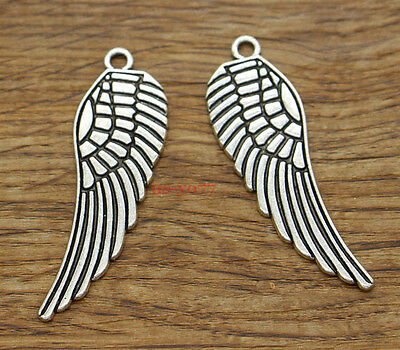 Bird Wing 40 Antique Silver Angel Wings Charms LF CF 16mm Antique Silver