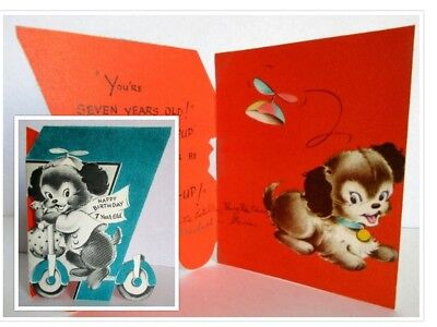 Birthday Card Childrens Pal The Pup Puppy Dog Scooter Flocked Volland Vtg Used