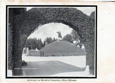 Archway to Metairie Cemetery/New Orleans LA/B&W Undivided Back Unposted POSTCARD
