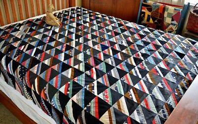 Antique Hand Stitched Roman Stripe Quilt Top