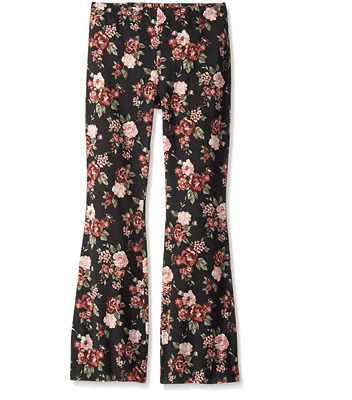 NEW My Michelle Big Girls' Floral Print Leggings With Flare Bottom Large Black