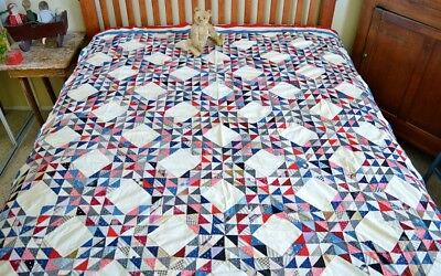 Antique 19th c Hand Stitched Oceans Wave Calico Quilt Top