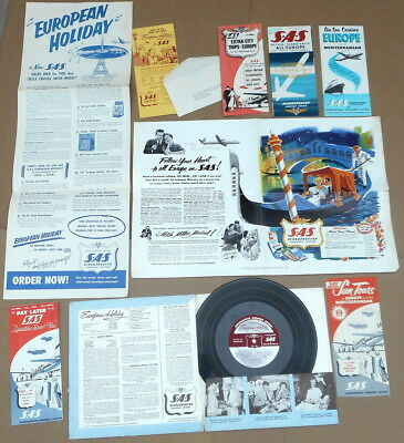 SAS Travel Planning Kit EUROPEAN HOLIDAY Mitch Miller Record, 1954 Timetable etc
