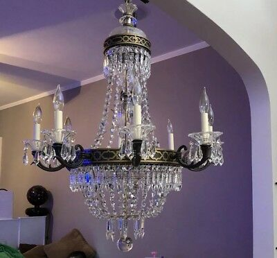 Large French Vintage Antique Fine Crystal Chandelier Light Fixture Ceiling Light