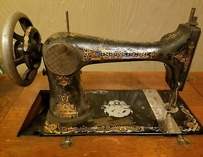 1896 singer treadle sewing machine with base stand and cabinet model #27 works