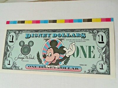 1987 Proof $1 Disney Dollar Mickey Mouse No serial # number Color Bar Selvage