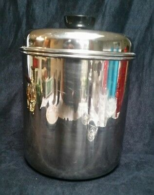 Vintage Revere Ware 3.5 Quart Stainless Steel Canister and Black Knob Lid