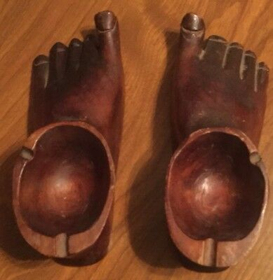 Vintage Carved Wooden Ashtrays- Left And Right Feet! Tramp Art?