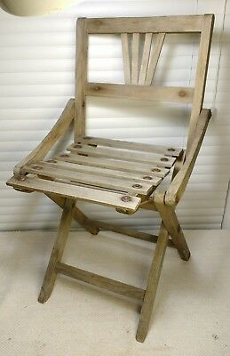 Antique Child's FOLDING WOODEN CHAIR European 1950's Children's Doll