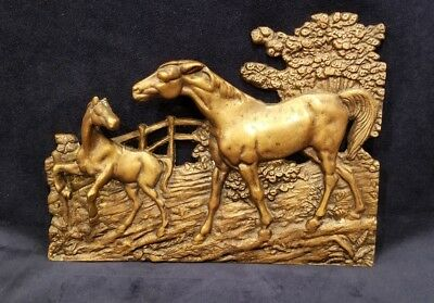 """Vintage Cast Brass Metal Horse Mare & Foal Wall Decor Plaque 10""""x 7.25"""""""