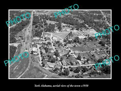 OLD LARGE HISTORIC PHOTO YORK ALABAMA, AERIAL VIEW OF THE TOWN c1950