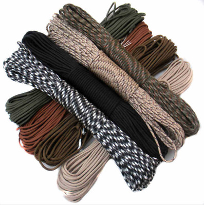100FT 550 Paracord Parachute Cord Lanyard Mil Spec Type III 7 Strand Core 30.5m