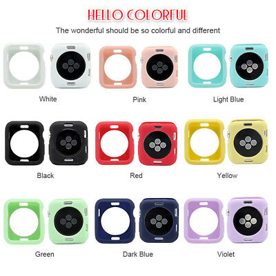 For Apple Watch Series 3 2 1 38/42mm Soft TPU Rubber Frame iWatch Case Cover