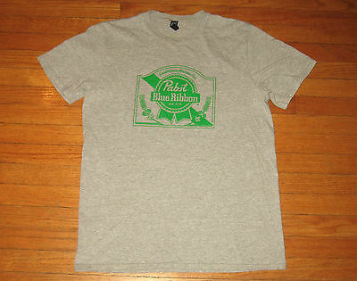 PABST BLUE RIBBON Beer T-Shirt, Men's LARGE, Heather Gray 2016 Lucky Clover NEW