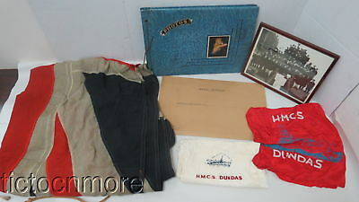 Wwii Canadian Navy Group Photos Papers Banner Hmcs Dundas Pillow Sham & Scarf