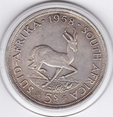 1958  South  Africa   Large Crown / Five Shilling Silver  Coin