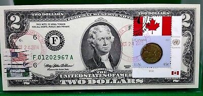 Money Us $2 Dollars 1995 Federal Reserve Note  Coin And Flag Canada Gem Unc