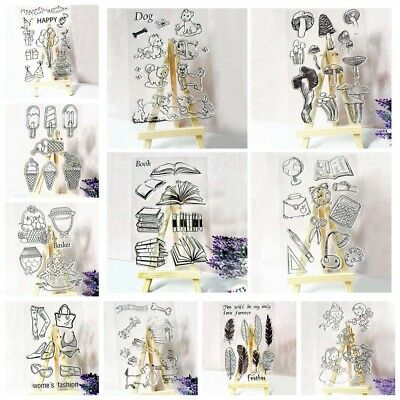 Silicone Clear Stamp Rubber Cling Diary Scrapbooking DIY.Various Transparent w~-