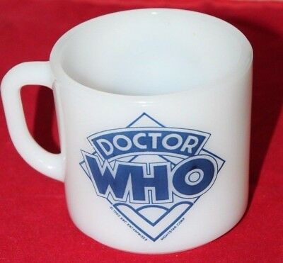 """1882 BBC Enterprises Anchor Hocking """"Doctor Who"""" Milk Glass Coffee Cup"""