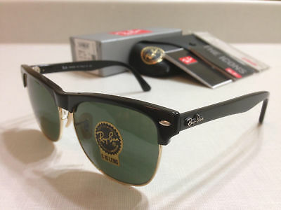Ray-Ban CLUBMASTER OVERSIZED Sunglasses SHINY BLACK/Classic Green Lens 57 mm
