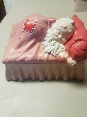 Vintage ALBERTA'S MOLD Ceramic Sleeping Santa Claus COOKIE JAR TRINKET BOX Patch