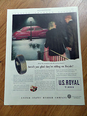 1947 US Royal Tire  Ad Ford Chevy Plymouth Packard?  Youngster take car dance