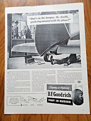 1942 B F Goodrich Tire Ad  Dad Working Puttering on Airplane