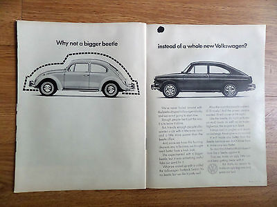 1966 VW Volkswagen Ad Why not a bigger beetle instead of a Whole new Volkswagen?