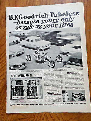 1956 B F Goodrich Tires Ad Tubeless Only as Safe as Your Tires