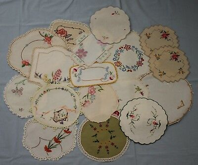 18 Small Vintage Embroidered Doilies