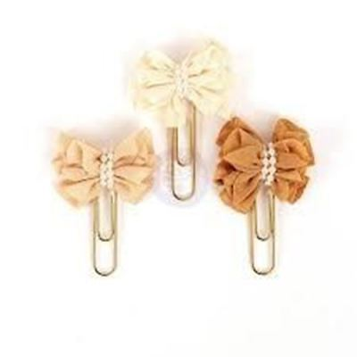 My Prima Planner Clips Cream Toffee Pearl Ribbon set of 3