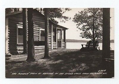 RPPC Hayward,WI The Pioneer Cabin at Brewers,Spider Lakes Chain Vintage Postcard