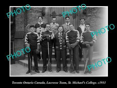 OLD LARGE HISTORIC PHOTO OF TORONTO CANADA, St MICHAELS LACROSSE TEAM 1931