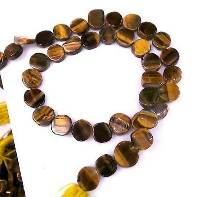 """14"""" Natural Tiger Eye Puff Coins Drilled Loose Beads Jewelry Making 89 Ct+/8-9mm"""