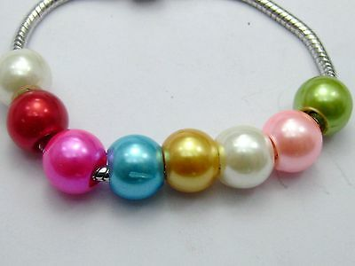 """100 Mixed Color Acrylic Pearl Round Beads 12mm (1/2"""") Fits Charm Bracelet"""