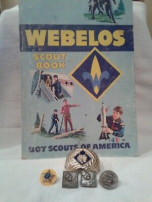 Vintage BSA Boy/Cub Scouts Vintage Pins and scout book from1969